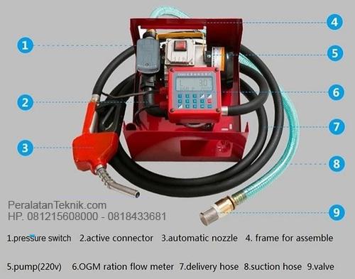 Flow meter minyak set pump AC Komplit nozzle dan selang Fuel set pump AC 220 Volt dan flow meter 1 inch untuk  Flow meter solar